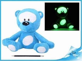 Medvídek plyšový 30cm svítící ve tmě modrý 0m+ v sáčku