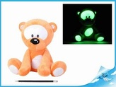 Medvídek plyšový 30cm svítící ve tmě oranžový 0m+ v sáčku