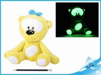 Medvídek plyšový 30cm svítící ve tmě žlutý 0m+ v sáčku