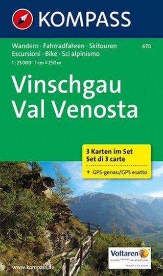 Kompass Karte Vinschgau, 3 Bl.. Val Venosta