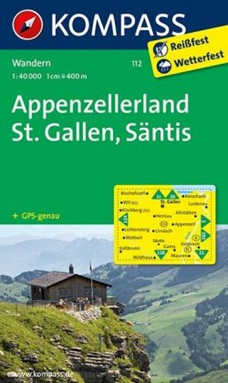 Kompass Karte Appenzellerland, St. Gallen, Säntis
