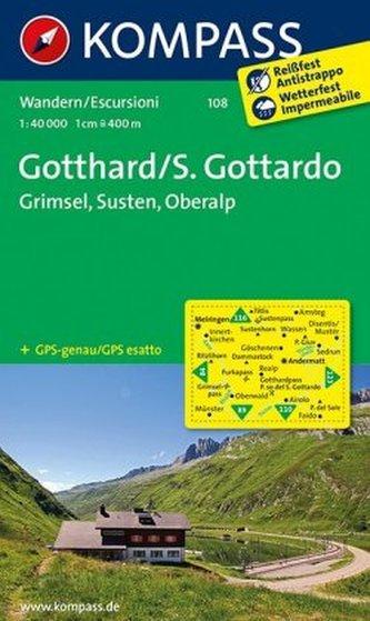 Kompass Karte Gotthard. S. Gottardo