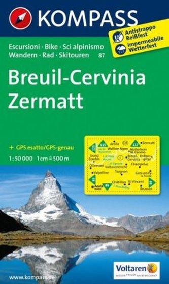 Kompass Karte Breuil, Cervinia, Zermatt