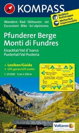 Kompass Karte Pfunderer Berge, Eisacktal, Pustertal. Monti di Fundres, Val d' Isarco, Val Pusteria
