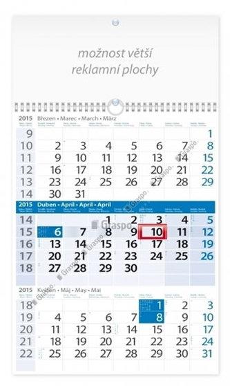 Kalendář 2015 - Tříměsíční modrý s reklamní plochou nástěnný