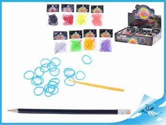 Udělej si svůj náramek - gumičky 100ks + doplňky 9 barev v sáčku