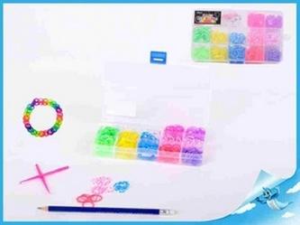 Udělej si svůj náramek - gumičky 360ks + doplňky v plastové krabičce v sáčku