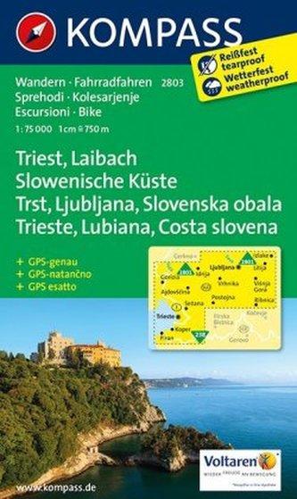 Kompass Karte Triest, Laibach, Slowenische Küste. Trst, Ljubljana, Slovenska obala. Trieste, Lubiana, Costa slovena .