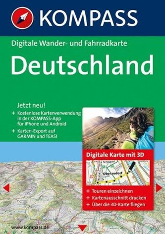 Kompass Digitale Wander- und Fahrradkarte Deutschland, 1 DVD-ROM