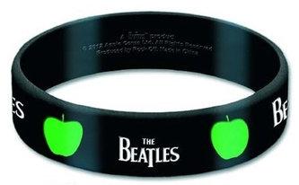 Náramek silikonový - Beatles/logo & jablko/černý