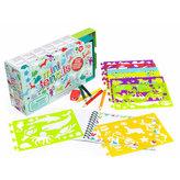 Kreslicí šablony s pastelkami mini box