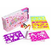 Kreslicí šablony s pastelkami mini box pro holčičky