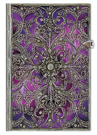 Zápisník - Silver Filigree Aubergine Mini Lined