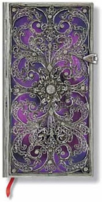 Zápisník - Silver Filigree Aubergine Slim Lined