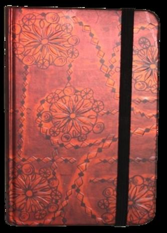 Zápisník s gumičkou 95x140 mm červený ornament