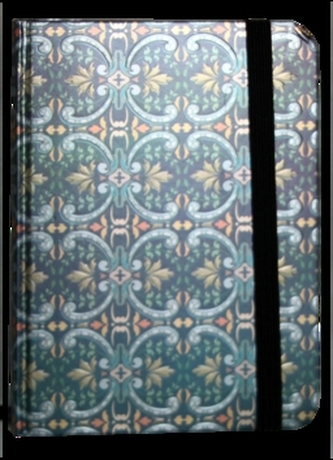 Zápisník s gumičkou 95x140 mm modrostříbrný ornament