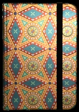 Zápisník s gumičkou 95x140 mm zlatooranžový ornament
