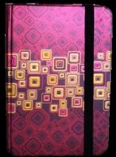 Zápisník s gumičkou 95x140 mm červenozlaté čtverce
