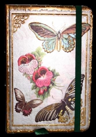 Zápisník s gumičkou 95x140 mm motýli