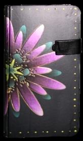 Zápisník s magnetickým klipem 85x160 mm fialová květina