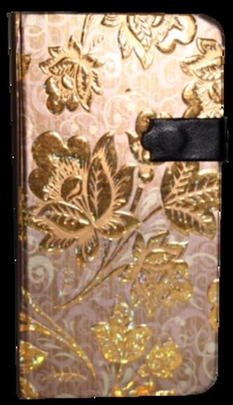 Zápisník s magnetickým klipem 85x160 mm zlaté květy