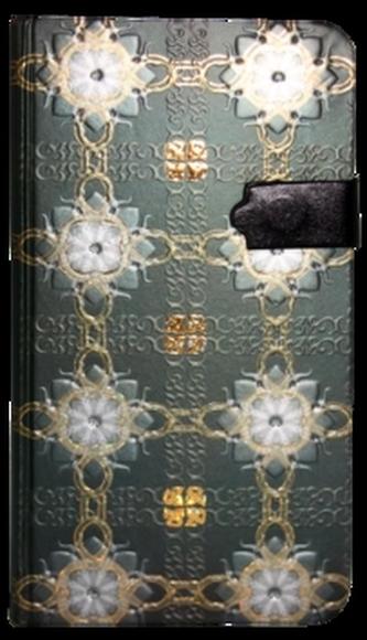 Zápisník s magnetickým klipem 85x160 mm  zelený s bílozlatými květy