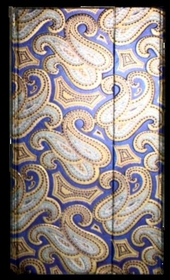 Zápisník s magnetickou klopou 100x180 mm modrý se zlatostříbrným ornamentem