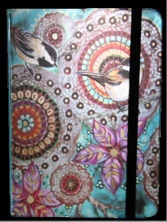 Zápisník s gumičkou 130x180 mm barevný s ptáčky a květy