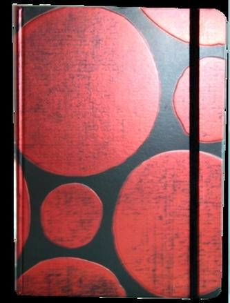 Zápisník s gumičkou A5 145x210 mm  černý s červenými koly