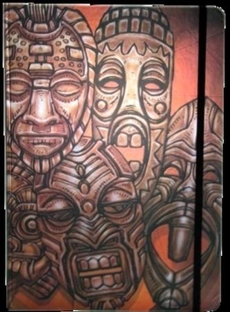 Zápisník s gumičkou A4 210x290 mm africké masky