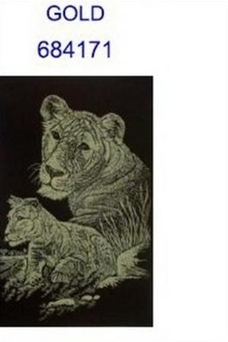 škrábací obrázek A5 lvice s mládětem GOL
