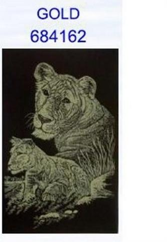 škrábací obrázek A4 lvice s mládětem GOL