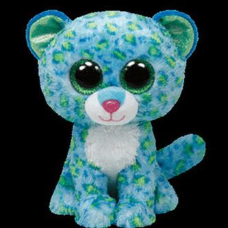 Plyš očka střední leopard modrý