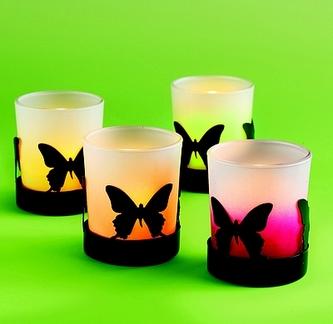 Ozdobné kalíšky na svíčky Motýlci, 4 k