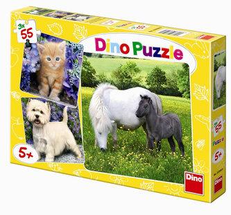 Zvířátka - puzzle 3 motivy v balení 3x55