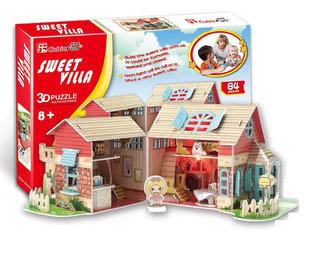 """Puzzle 3D Dům """"SLADKÁ VILA"""" / led - 84 dílků"""