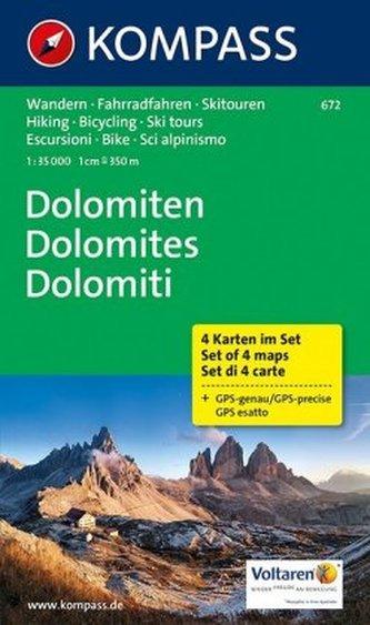Kompass Karte Dolomiten, 4 Bl.. Dolomites / Dolomiti