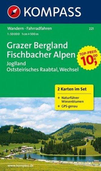 Kompass Karte Grazer Bergland, Fischbacher Alpen, 2 Bl. m. Kompass Naturführer Wiesenblumen