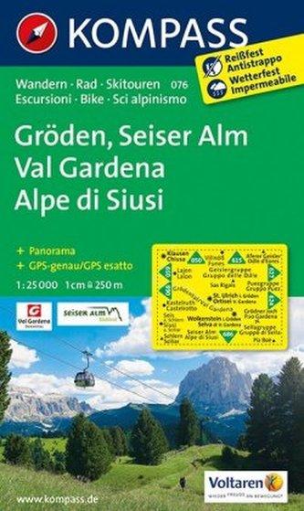 Kompass Karte Gröden, Seiser Alm. Val Gardena, Alpe di Siusi