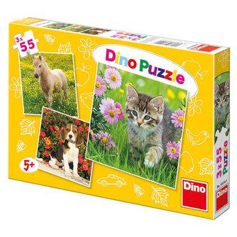 Zvířátka na zahradě - Puzzle 3x55 dílků - neuveden