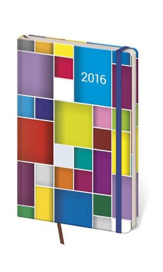 Diář 2016 - Vario kapesní týdenní s gumičkou - Cube