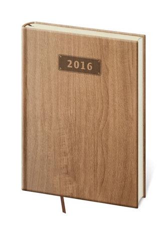 Diář 2016 - Wood A5 denní - světle hnědá