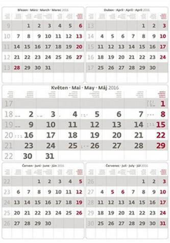 Kalendář nástěnný 2016 - Pětiměsíční - šedý