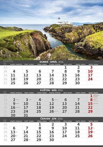Kalendář nástěnný 2016 - Pobřeží - tříměsíční