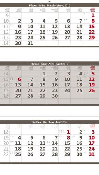 Kalendář nástěnný 2016 - Tříměsíční - skládaný šedý