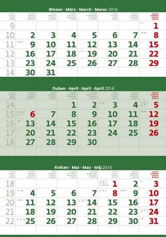 Kalendář nástěnný 2016 - Tříměsíční - zelený