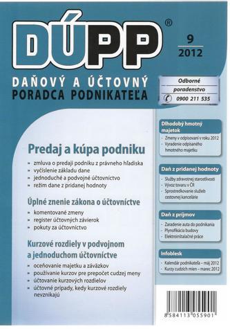 DUPP 9/2012 Predaj a kúpa podniku