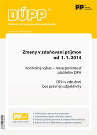 DUPP 4-5/2014 Zmeny v zdaňovaní príjmov od 1.1. 2014