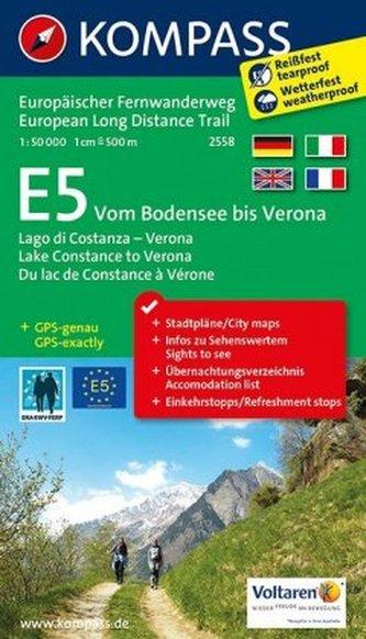 Kompass Wander-Tourenkarte E5, Vom Bodensee bis Verona. E5, Lago di Costanza - Verona / E5, Lake Constance to Verona / E5, Du la