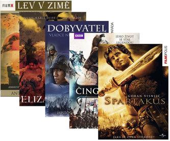 Balíček historických filmů 5DVD (Čingischán, Dobyvatel, Alžběta I., Lev v zimě, Spartakus)